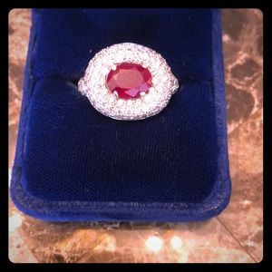 Jewelry - Ruby and Diamond cocktail ring set in white gold